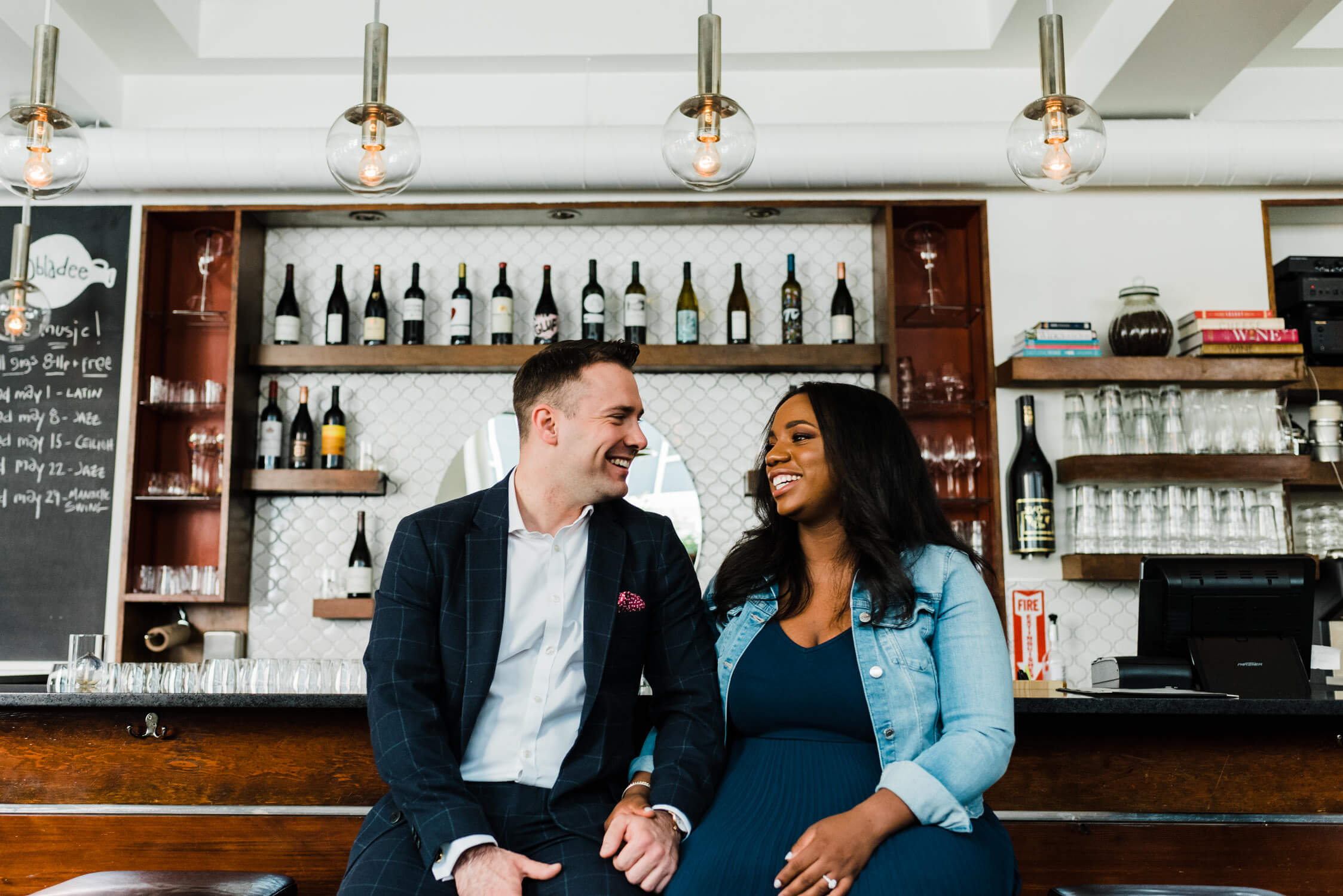 obladee wine bar engagement photo